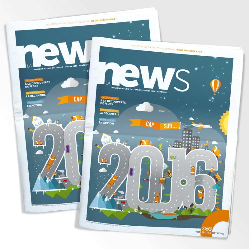 Couverture du magazine interne de TNT NEWS réalisé en 2016