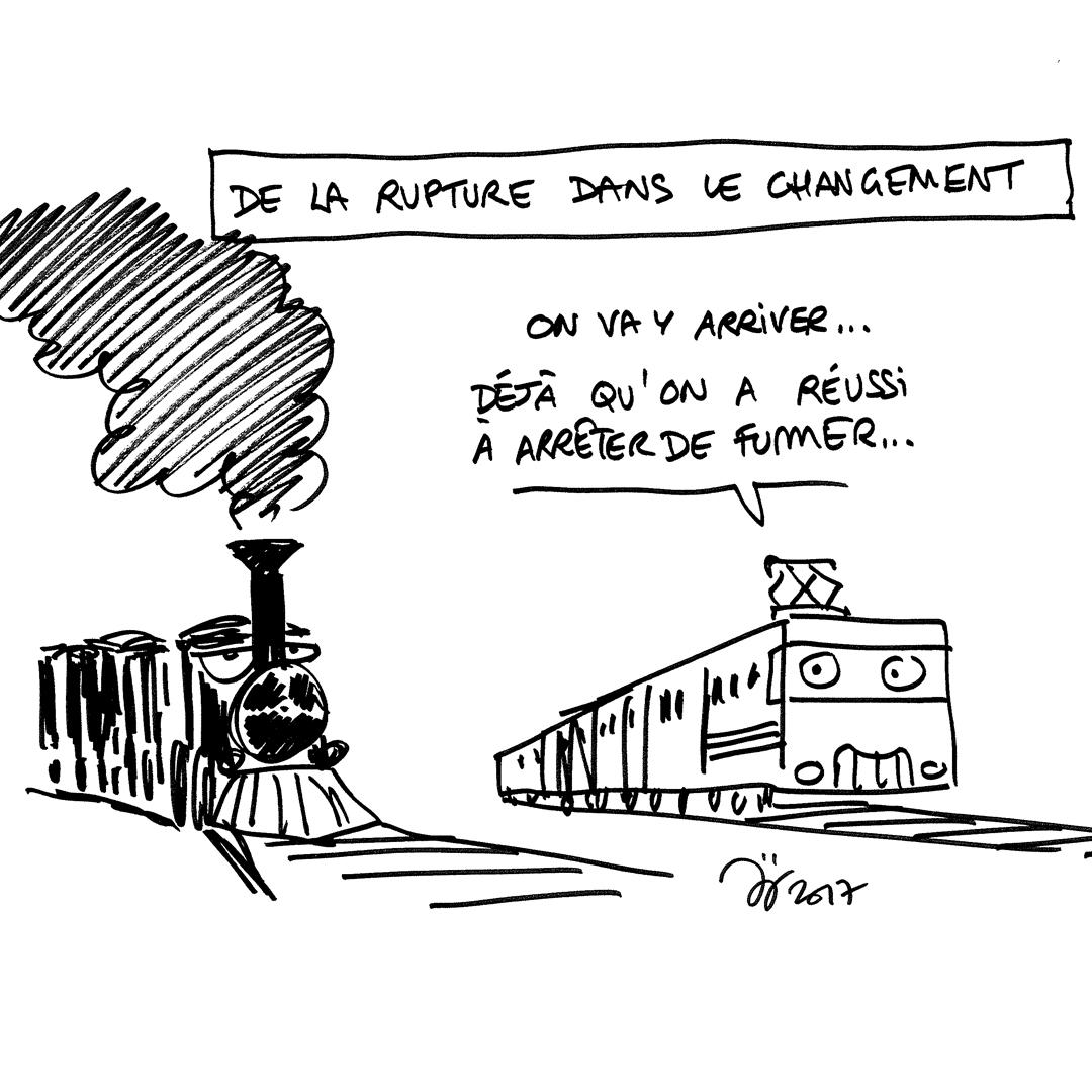 Dessin à destination des salariés de la SNCF avec un vieux train qui se fait dépasser par un nouveau