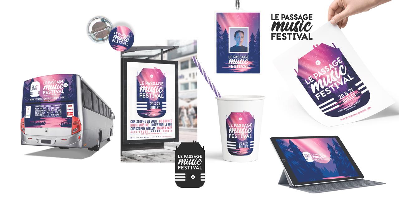 Ensemble des supports Montivert Festival avec badge, affiche, site internet, gobelet
