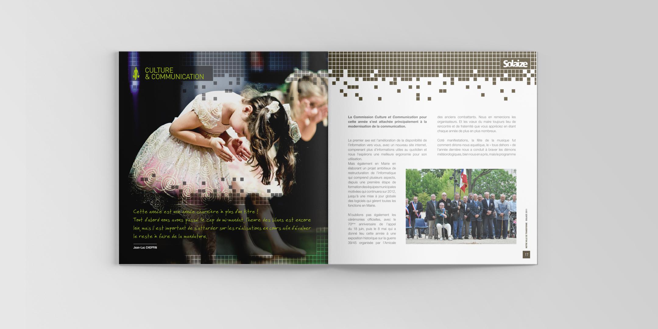 Pages intérieures de la brochure municipale de Solaize avec deux jeunes danseuses étoile et une photo des élus de la mairie