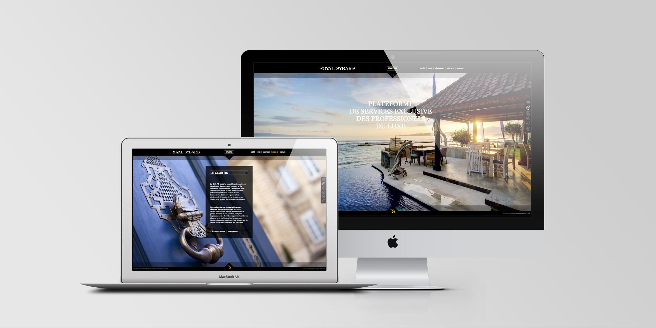 Mise en situation du site web haut de gamme de Royal Sybaris