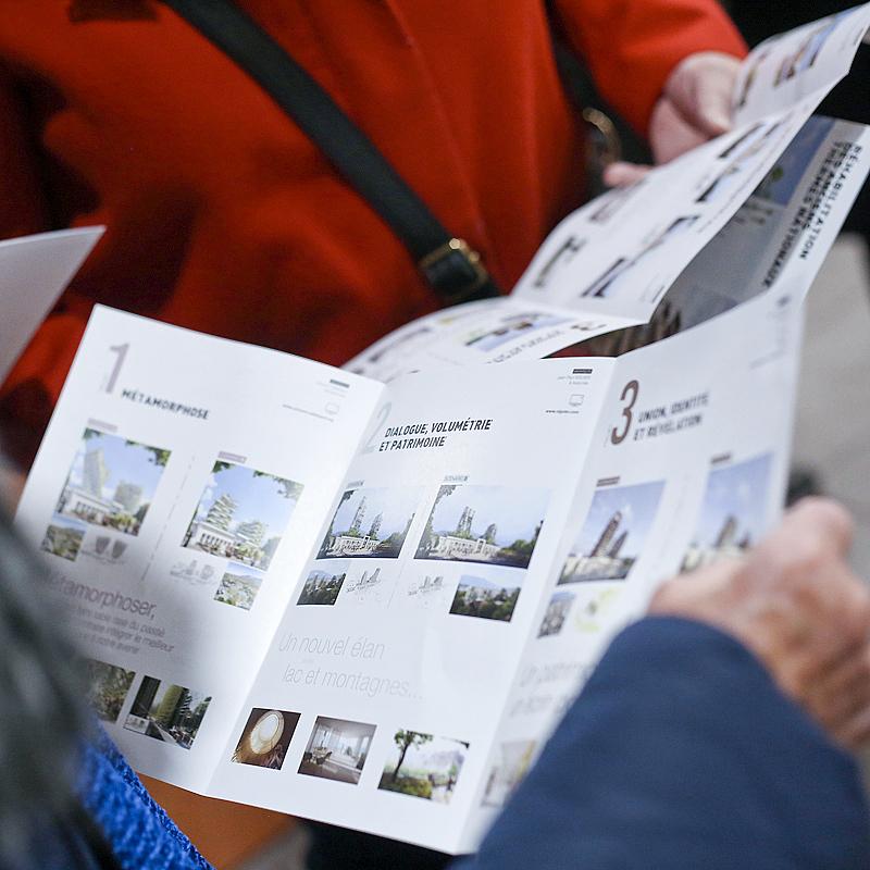 Plaquette de présentation des projets architecturaux de Bouygues Immobilier pour les termes de la ville d'aix les bains