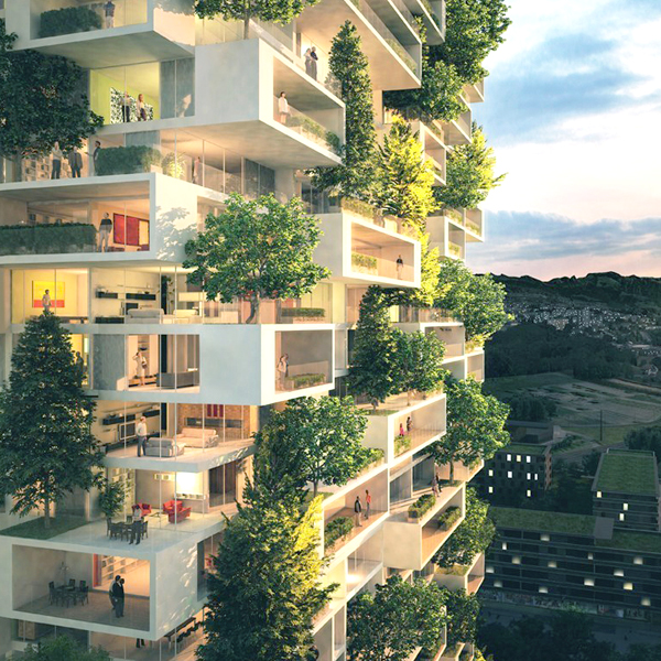 Immeuble green et ouvert sur l'extérieur représenté grâce à une modélisation 3D - sujet traité par le magazine Arkuchi