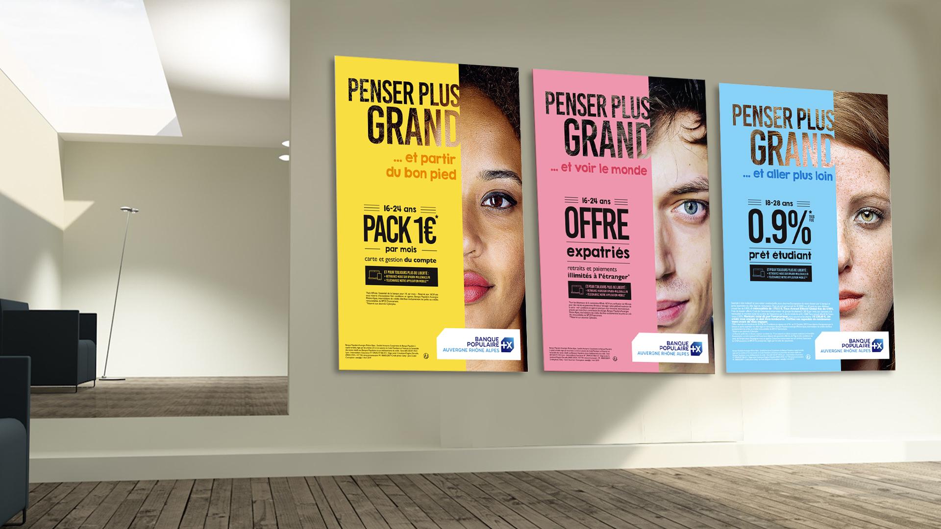 Déclinaisons campagne de communication jeune Banque Populaire 2019