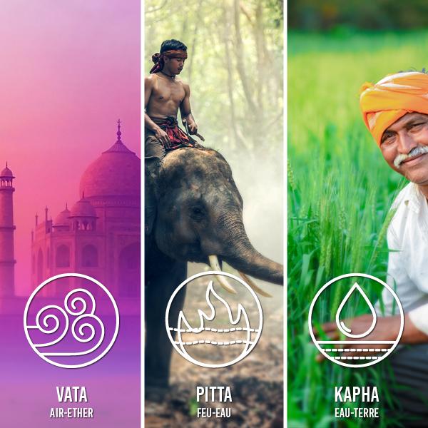Présentation des 3 éléments utilisés dans le cadre du packaging de Jardin veda : L'air, le feu et la terre