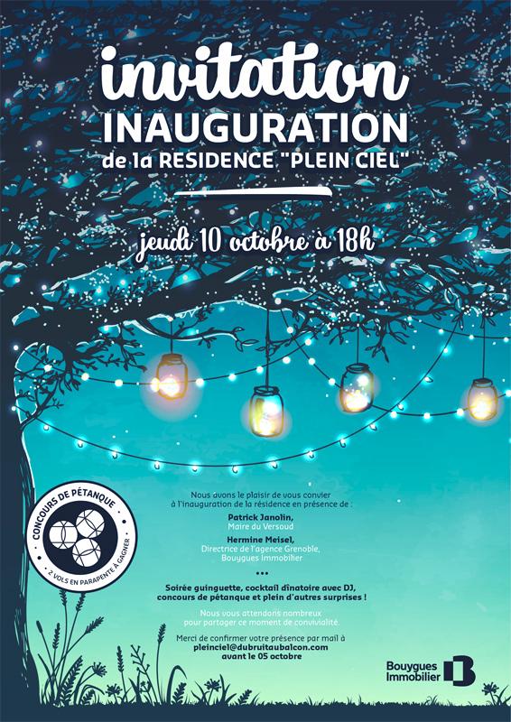 Affiche réalisée par notre studio graphique pour annoncer aux résidents l'inauguration de leur résidence et présenter le programme