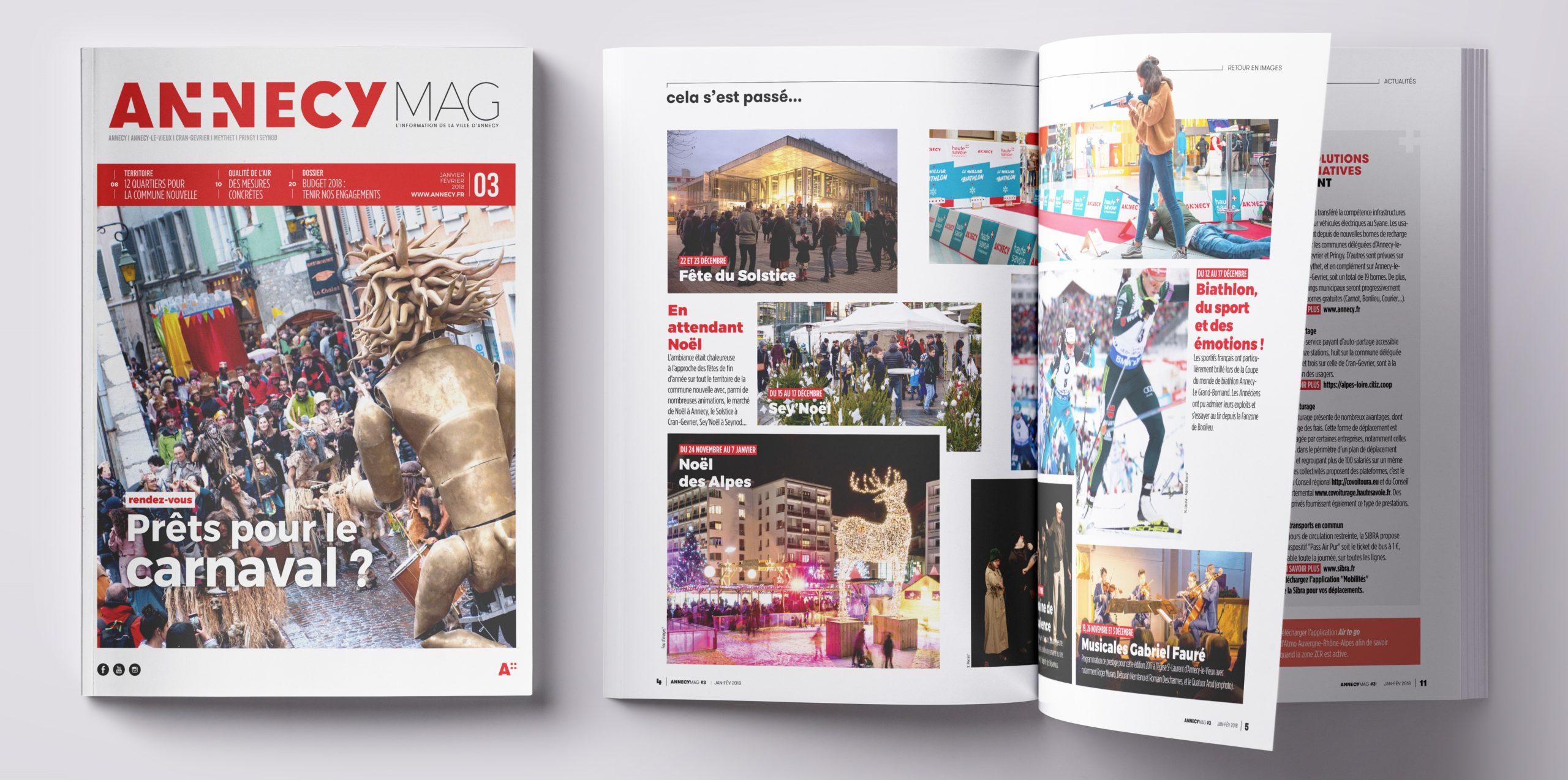 Première de couverture et intérieur du magazine municipal d'Annecy