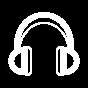 Pictogramme casque de musique blanc pour la playlist