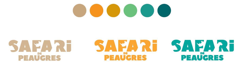 Gammes chromatiques et déclinaisons colorimétriques du logotype Safari de Peaugres