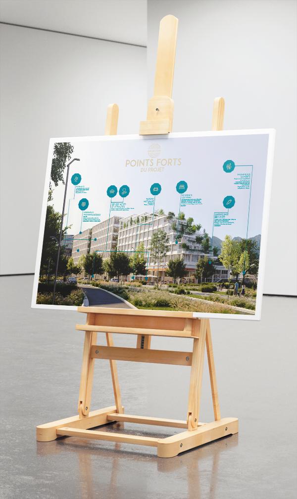 Panneaux A0 regroupant les points forts du projet immobilier