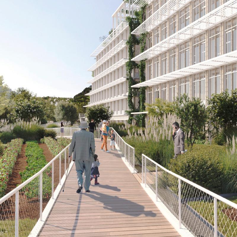 Modélisation 3D des passerelles naturelles du projet immobilier