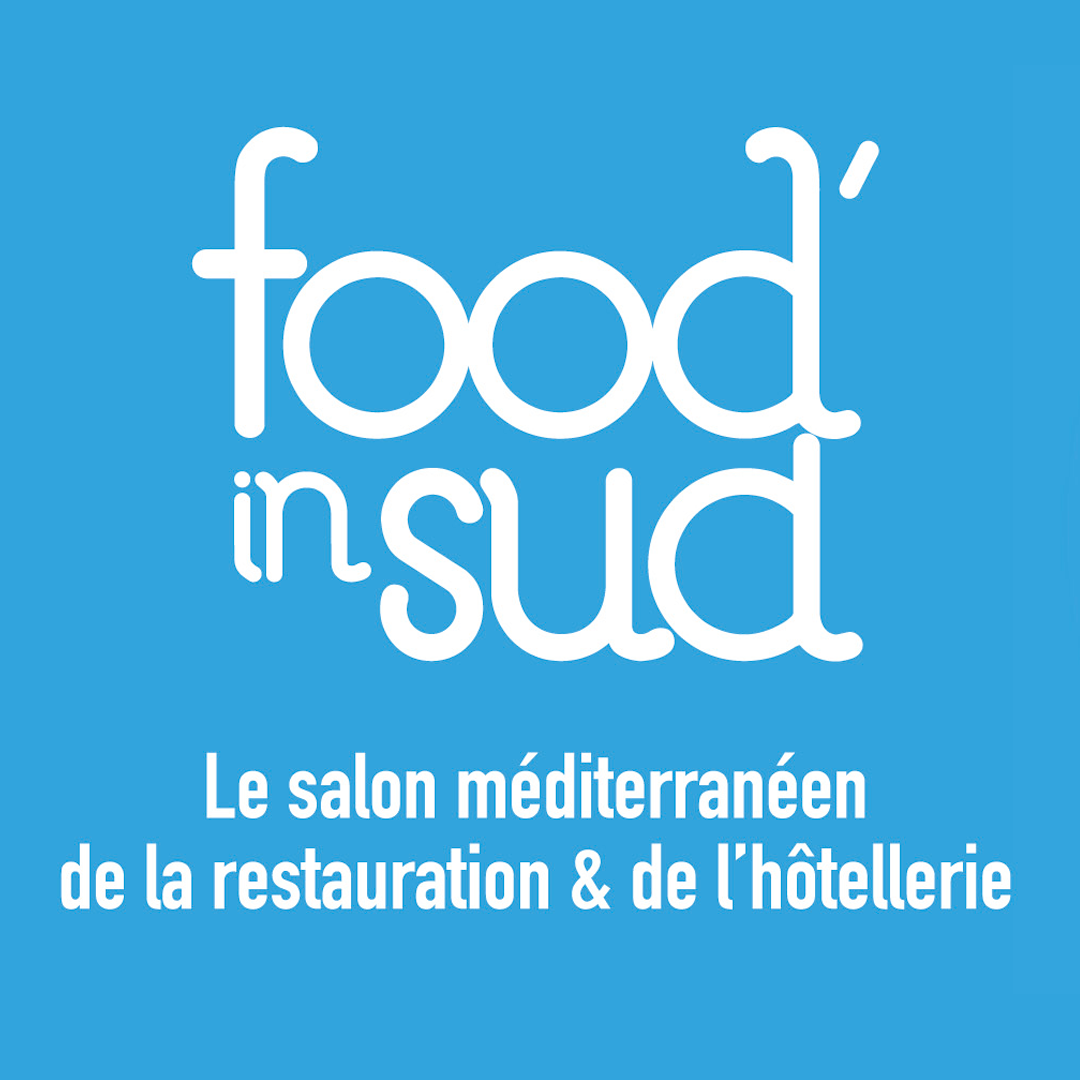 Logotype du salon Food In Sud sur fond bleu