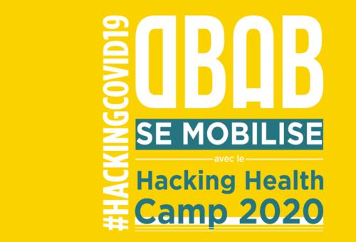 Mise en page chartée aux couleurs jaune et bleu de l'agence pour parler de notre mobilisation pour le hacking health camp