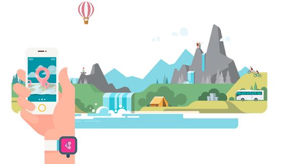 Illustrations des différentes activités à faire en montagne pour le carnet de tendances AURA Tourisme