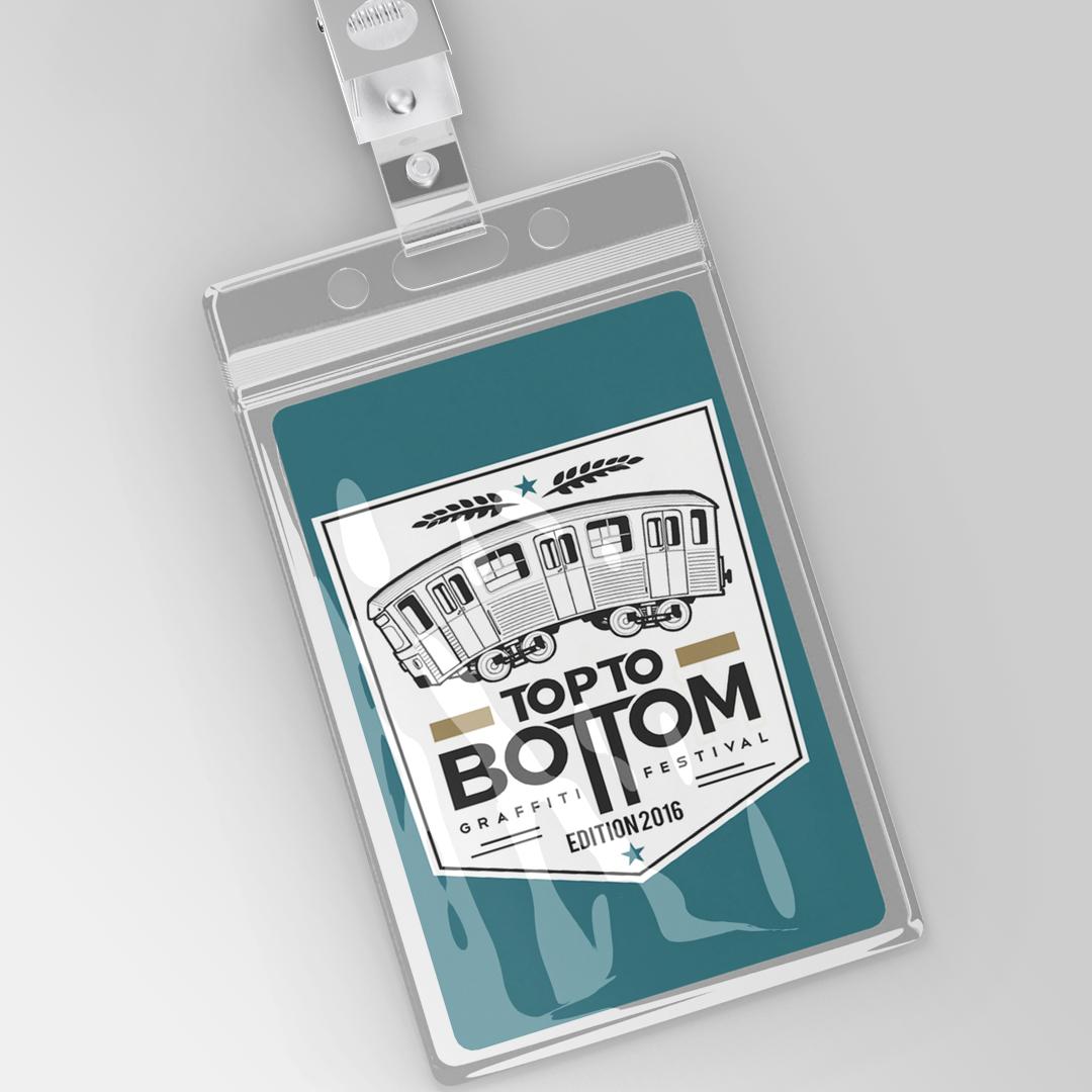 Badge destiné à la presse pour le festival Top to bottom