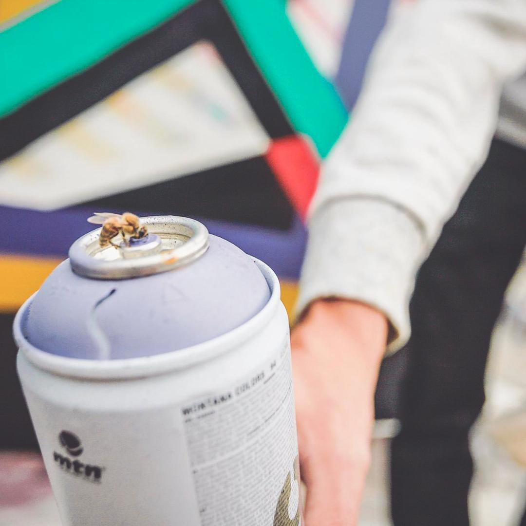 Gros plan sur une abeille en train de butiner la peinture sur une bombe de peinture violette tenue par un homme en pull gris