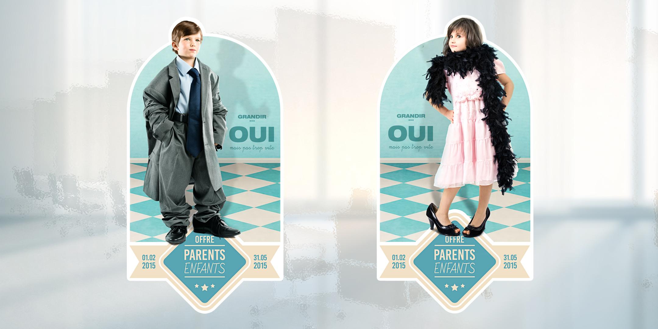 Deux supports différents de la campagne avec les enfants habillés comme des adultes