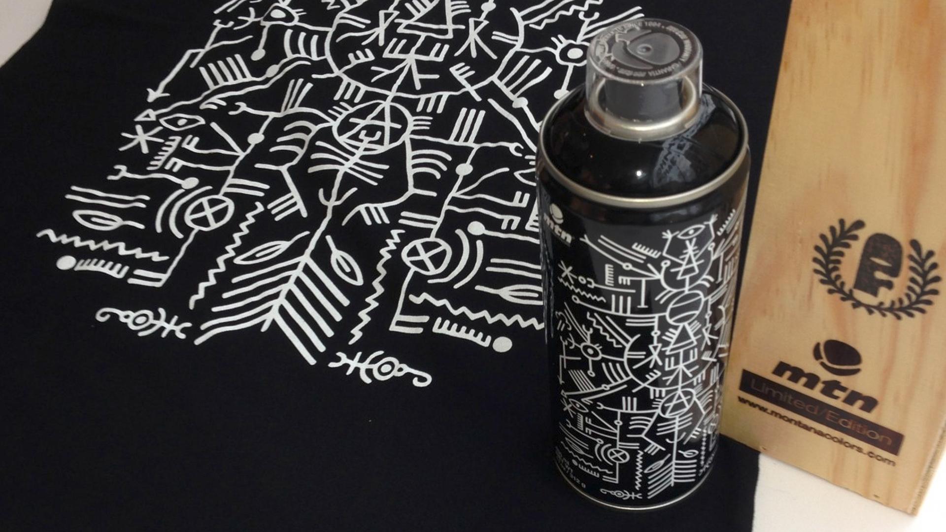 Bombe de peinture et t-shirt noir de l'exposition Johnny Clegg de Grems