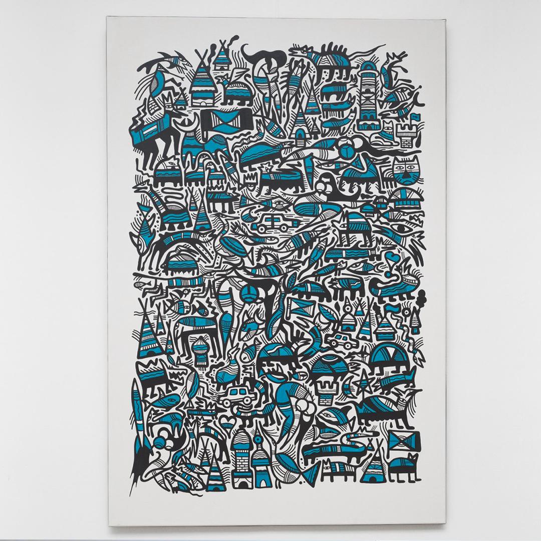 Tableau couleurs bleu blanc et noir de l'exposition Johnny Clegg par Grems pour illustrer les relations presse de l'inauguration réalisé par notre agence