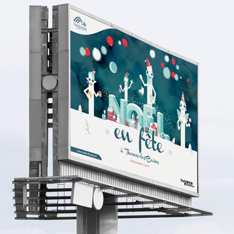 Affichage urbain de la campagne de Noël de Thonon-les-bains pour Noël