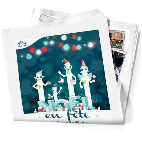 Insertion dans le journal de l'encart presse de la campagne d'affichage de Noël de la ville de Thonon-Les-Bains