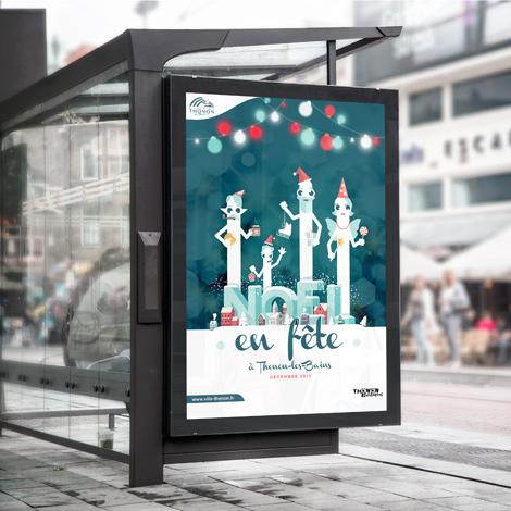Affiche de la ville de Thonon-les-Bains pour Noël mise en situation sur un abris de bus