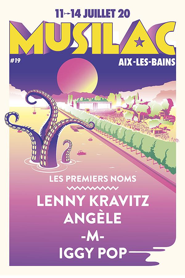 Affiche du festival Musilac 2020 avec fond violet des tentacules au milieu avec les noms des artistes présents
