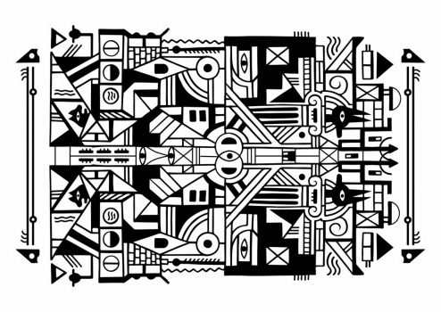 Réalisation d'un tableau à la bombe de peinture en noir et blanc réalisé par l'artiste graffeur Grem's