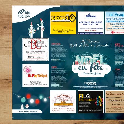 Set de table aux couleurs de la campagne de communication Noël en fête pour la ville de Thonon-les-bains