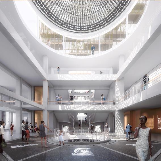 Image en 3D de la pièce centrale des Thermes vue par un des architectes