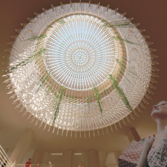 Rosace en verrière en image de synthèse pour présentation le projet d'un des architectes présentés