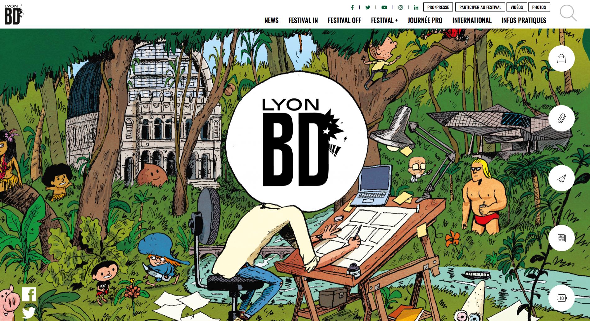 Screen du site internet de Lyon BD ouvert sur le header du site Lyon BD festival avec visibilité sur le header et le menu