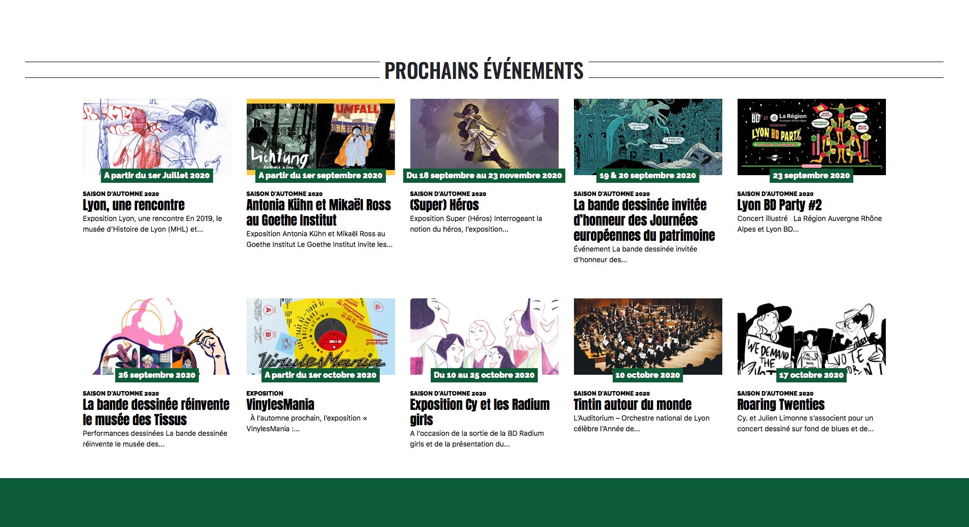 Screen du site internet de Lyon BD ouvert sur le header du site Lyon BD festival avec visibilité sur les prochains évènements