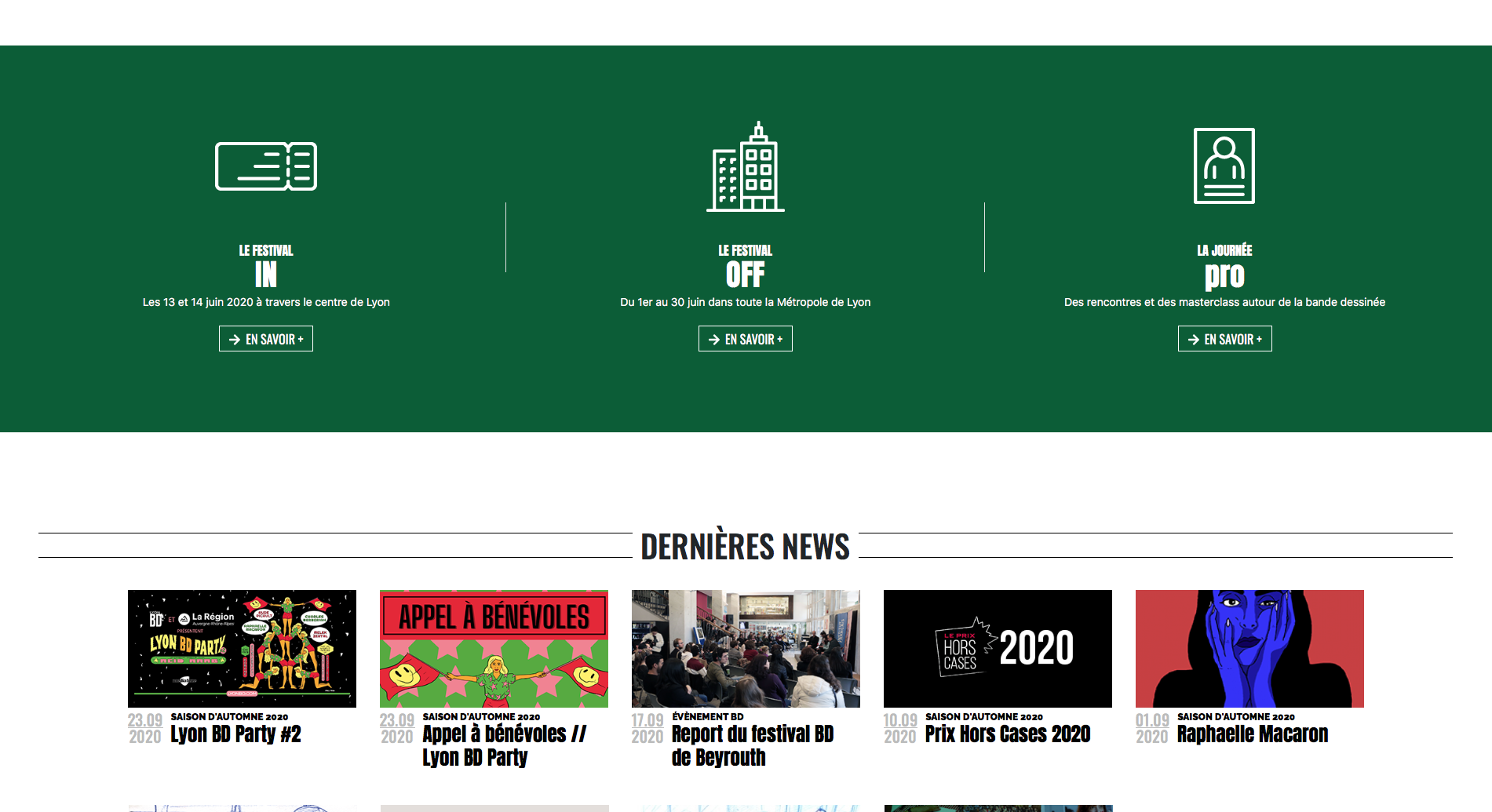 Screen du site internet de Lyon BD ouvert sur le header du site Lyon BD festival avec visibilité sur les actualités