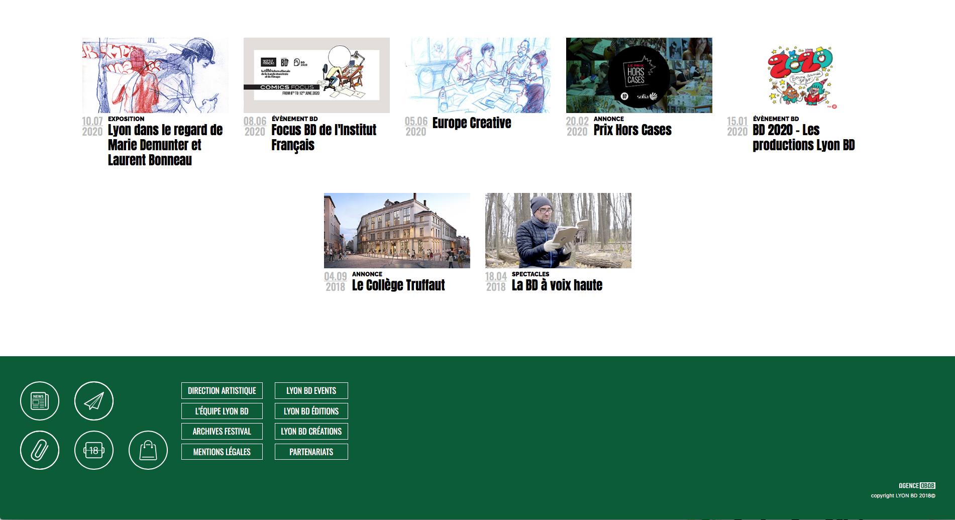 Screen du site internet de Lyon BD ouvert sur le header du site Lyon BD au niveau du fooder durant le festival