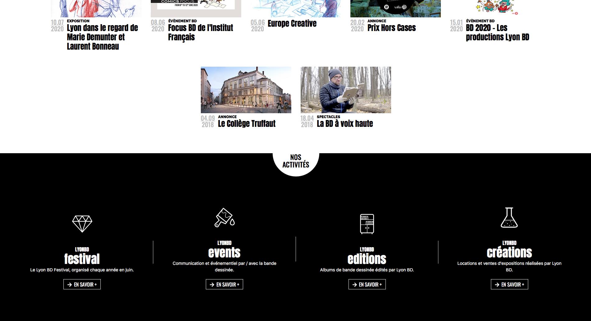Screen du site internet de Lyon BD ouvert les actualités du Lyon BD
