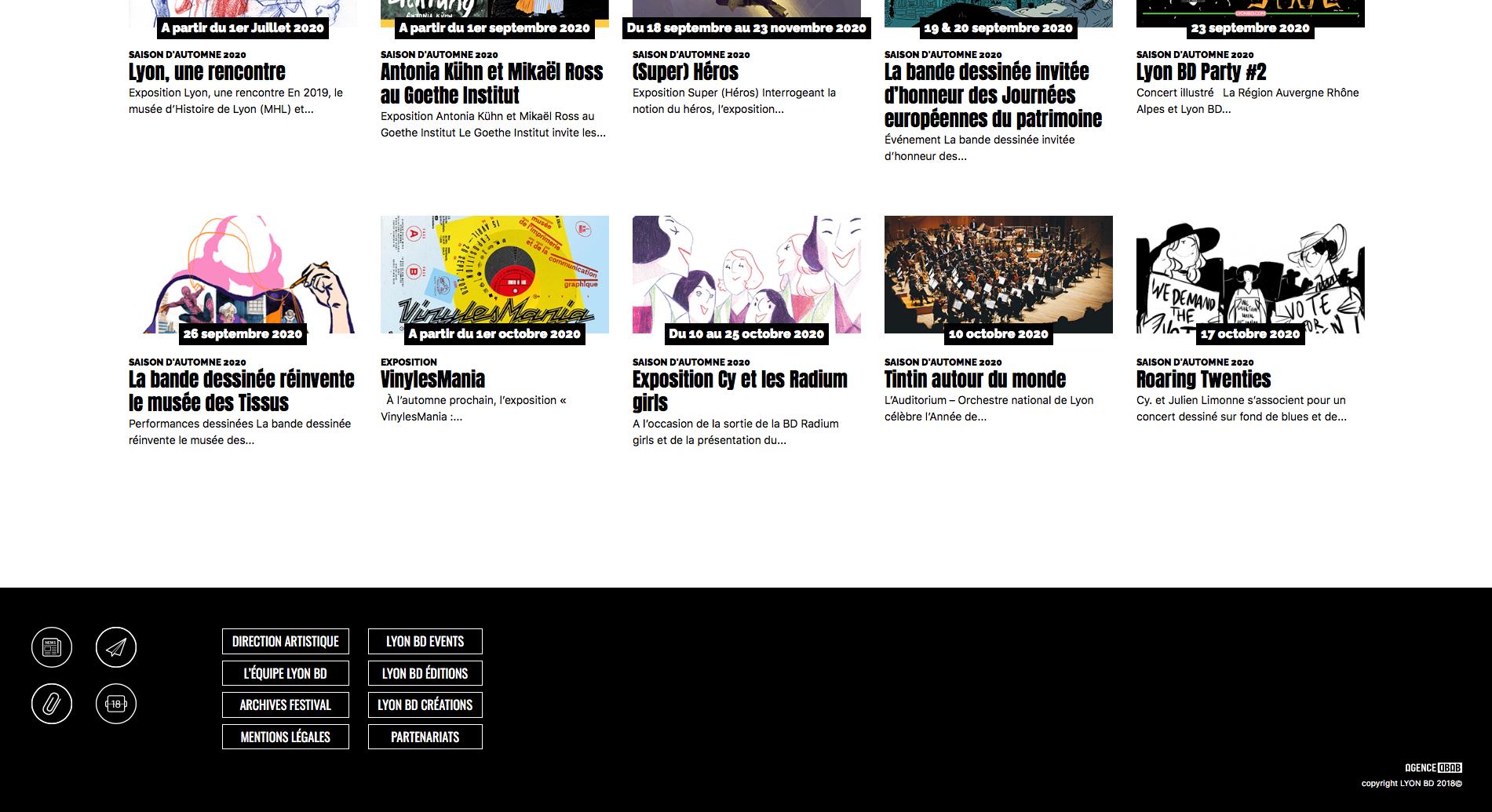 Screen du site internet de Lyon BD ouvert sur le fooder du site
