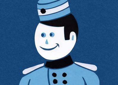 Visage de bonhomme dessiné en bleu avec une tenue de groom d'accueil dans les hotels anciens