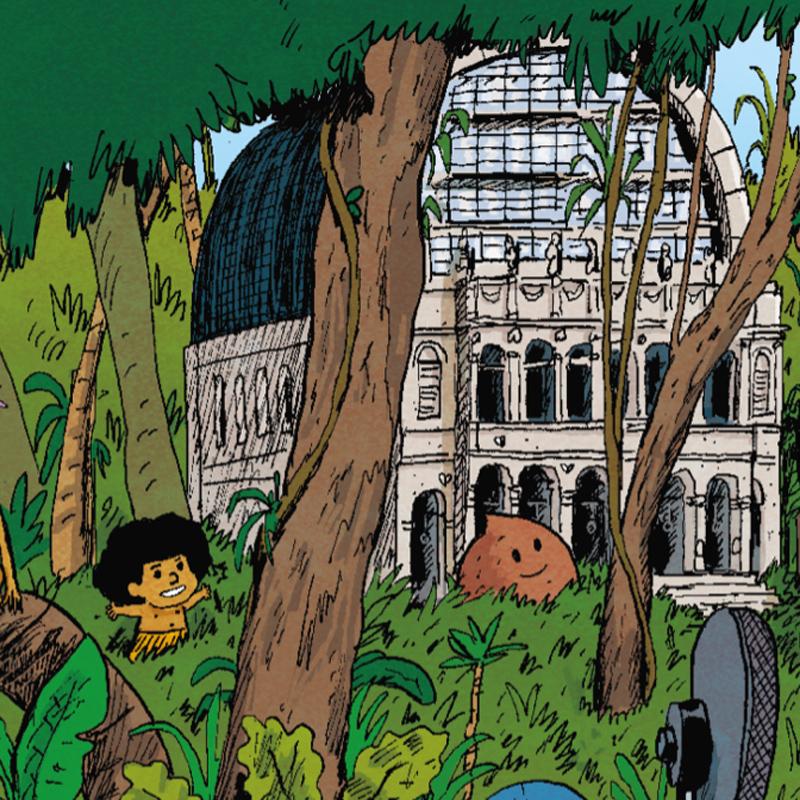 Dessin du Lyon BD Festival avec des personnes dans la Jungle avec l'opéra de Lyon en fond