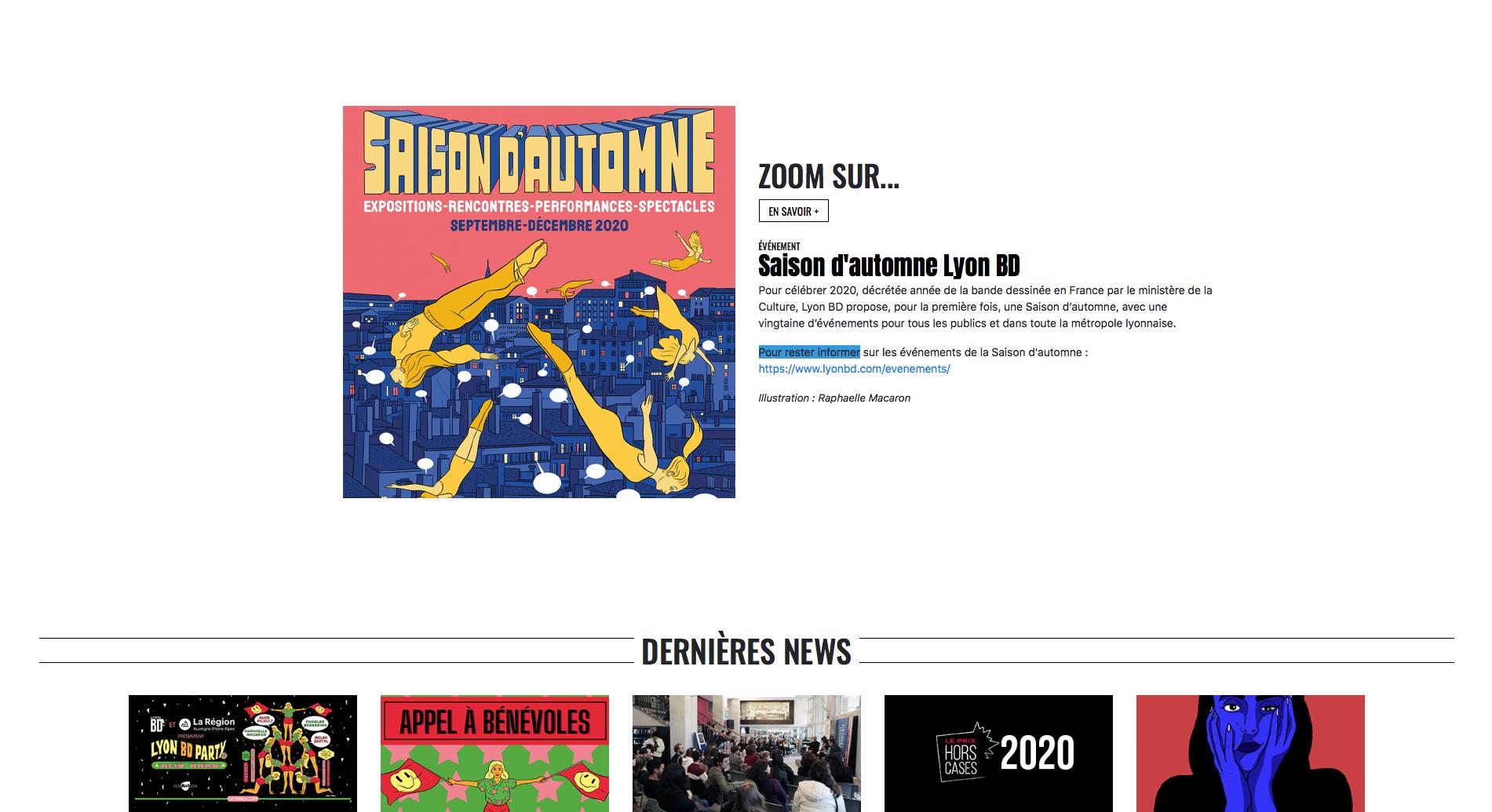 Site internet du Lyon BD festival avec défilement de la homepage