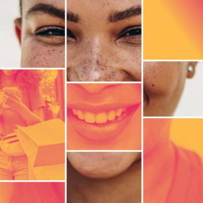 Visuel jeune femme souriante illustrant la campagne Banque populaire AURA pour le marché jeune