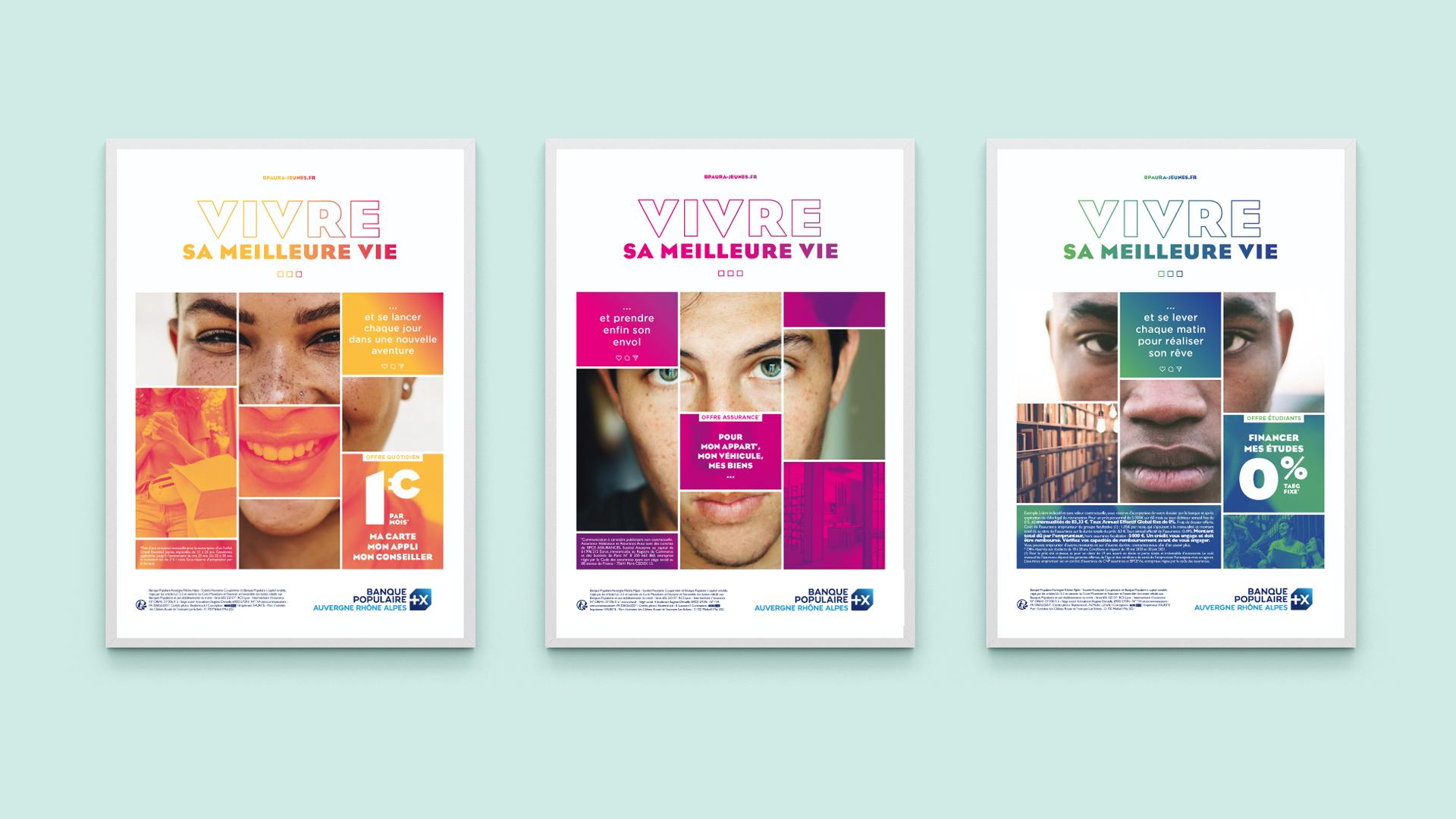 Trois visuels pour la campagne de communication jeunes Banque Populaire Auvergne Rhone Alpes