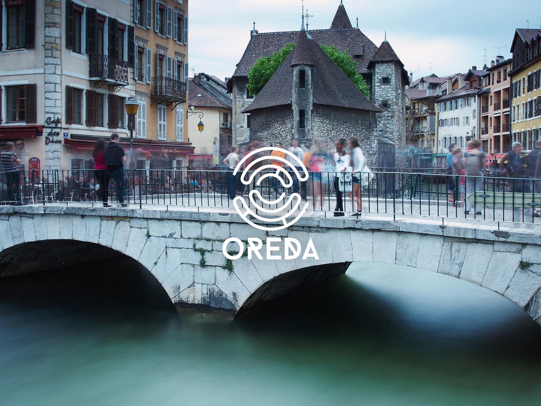 Mise en perspective du logo Oreda sur l'iconographie choisie