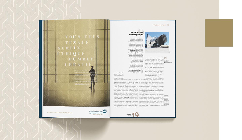 Mise en scène des encarts presse de la campagne de communication BAnque Populaire AURA Banque Privée