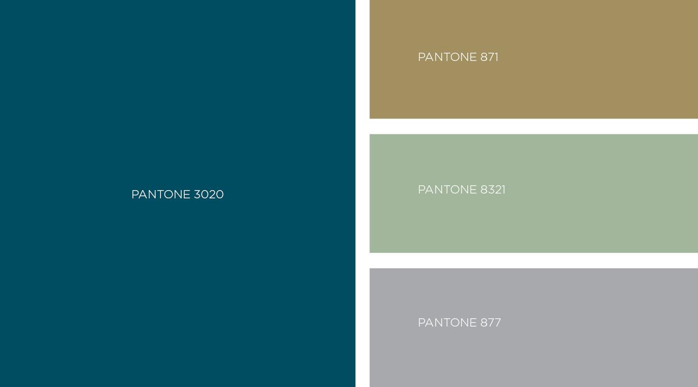 Couleurs Pantone choisies par le studio graphique pour la direction artistique de la Banque Privée