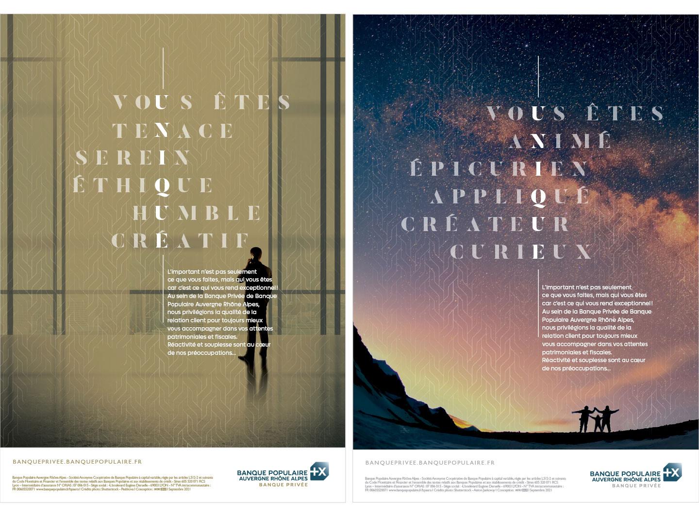 Encart presse réalisés par notre studio graphique pour la campagne de communication banque populaire aura Banque Privée