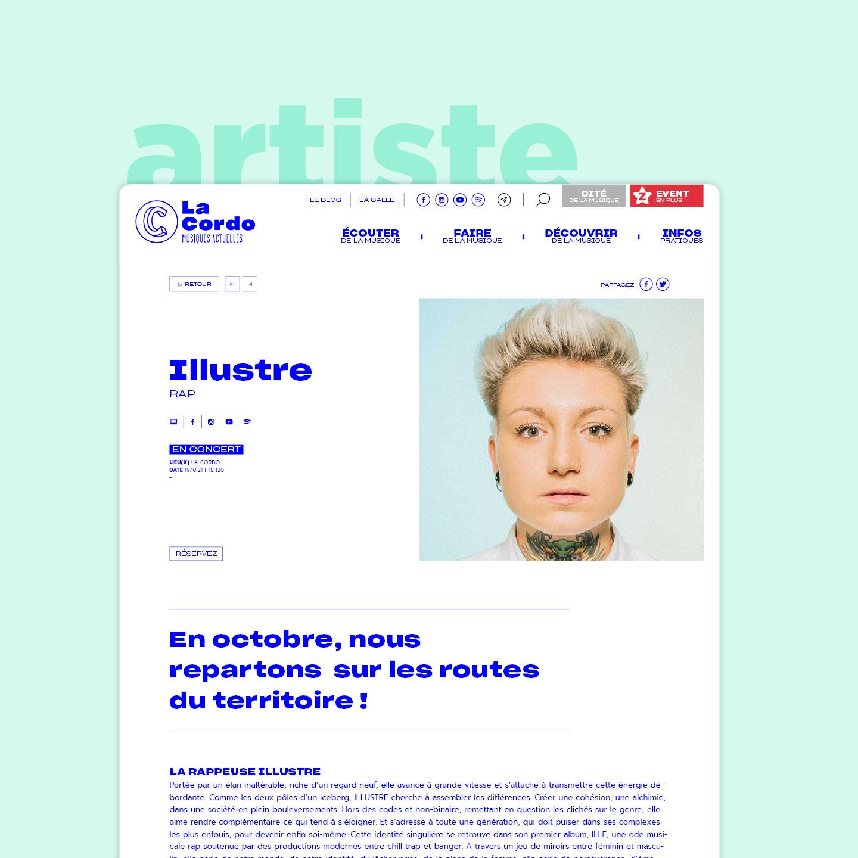 Fiche artiste issue de l'architecture du site web réalisé par notre agence de communication