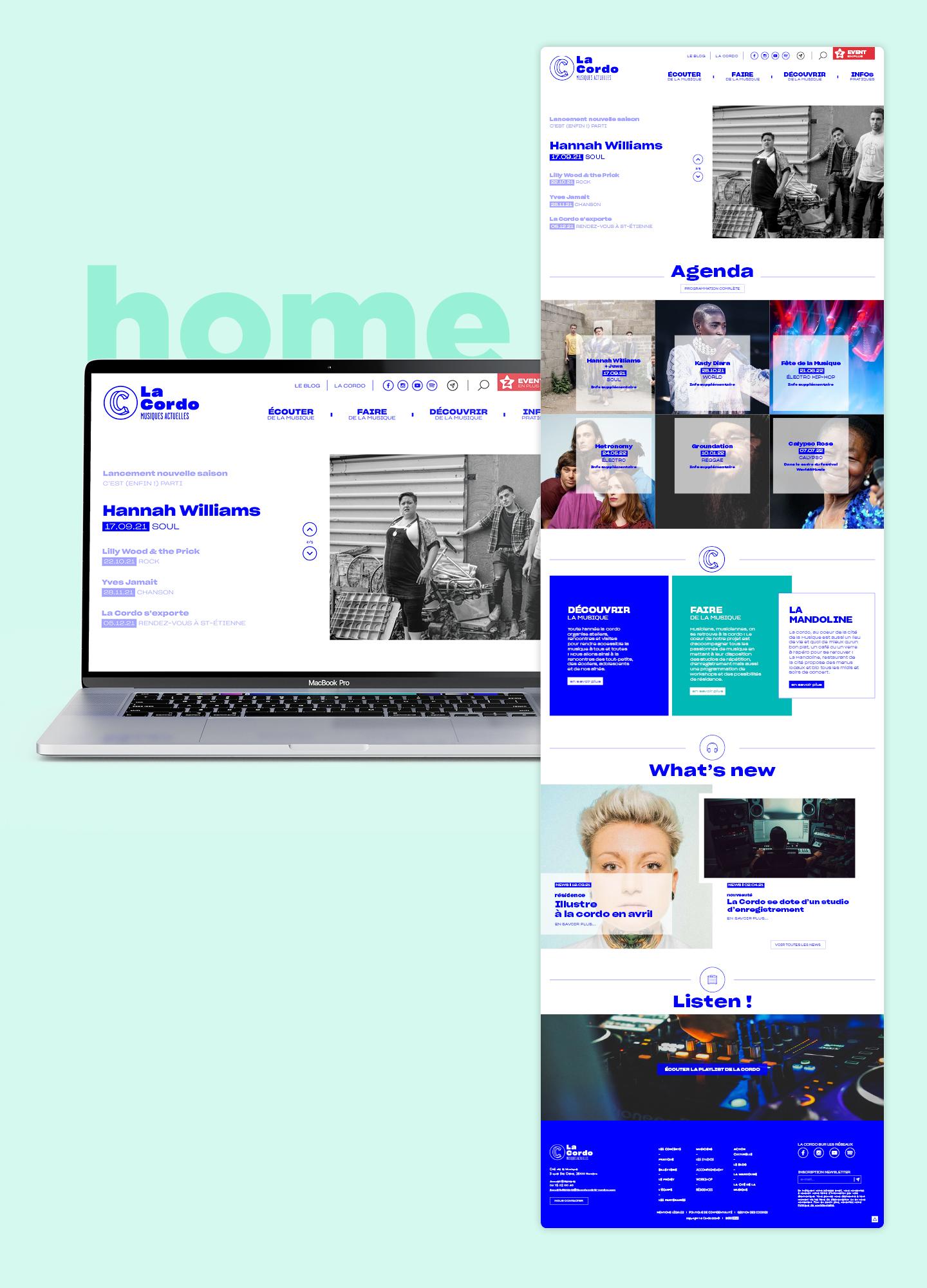 Webdesign de la home page du site web la cordo